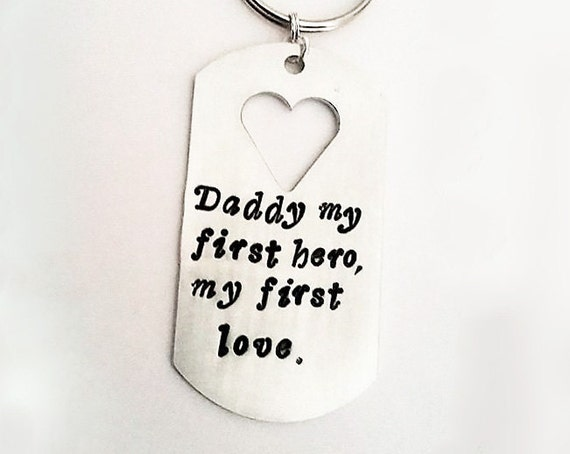 Daddy gift for him, personalized keychain, heart cut out keyring for men, dad first hero my 1st love, handstamped token, Father's day custom
