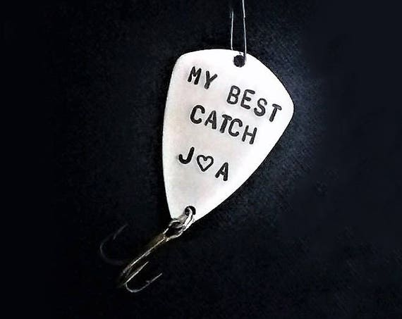 Usable Fishing Lure my best catch fishing hook personalized initials Christmas gift for fisherman fishing lovers gift handstamped for him
