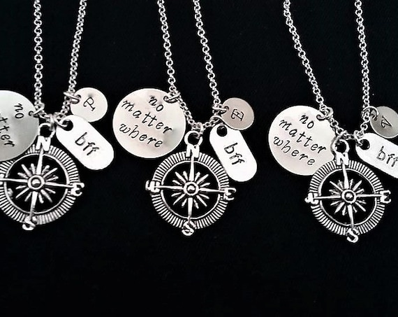 3 best friends necklace, silver necklace, no matter where charm, no matter what, personalized initial friendship jewelry, three BFF, compass