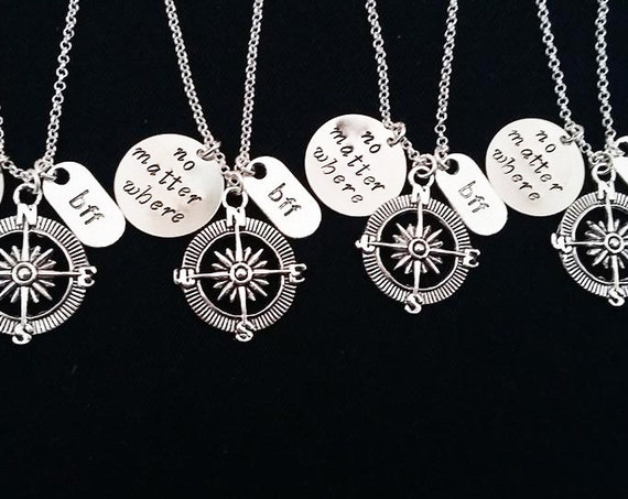 4 Best Friend Necklaces Compass charm No Matter Where Personalized Jewelry Friendship graduation Gift Long Distance four bff handstamped her