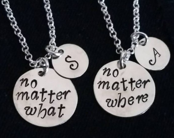 2 best friends necklaces, personalized initial charm, no matter what no matter where necklace set of two, bff necklace, mother daughter set