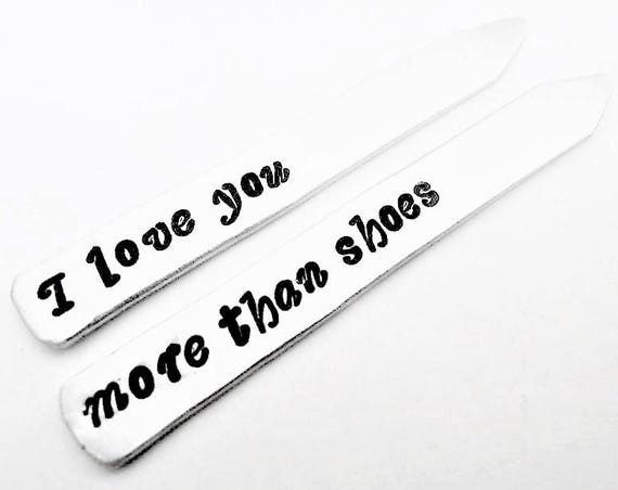 Anniversary Gift for Husband, Personalized Collar Stays, Engraved Gift for Husband, Collar Stays Anniversary Date I love you more than shoes
