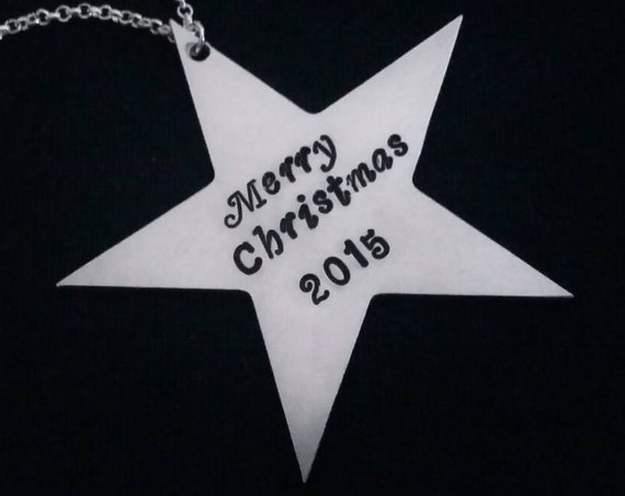 Star Ornament, Personalized Holiday Ornament, Hand Stamped decor, Gift for Friend, Christmas Gift, Coworker Gift, Hostess Gift tree ornament