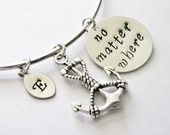 Personalized Anchor Bracelet, Custom Initial Bangle, Best Friend Bracelet, Friendship Jewelry, Gift for Best Friend, handstamped leaf charms