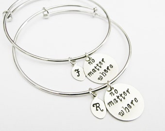 4 Best Friend Necklace No Matter What Initial Necklace Etsy