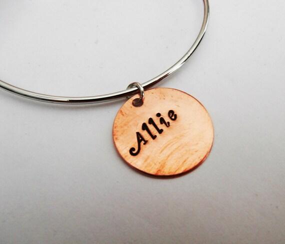 Custom Name Bracelet, Copper Name Bracelet, Personalized Name Bracelet, Name Bangle Bracelet, Bracelet With Name, Personalized Name Jewelry