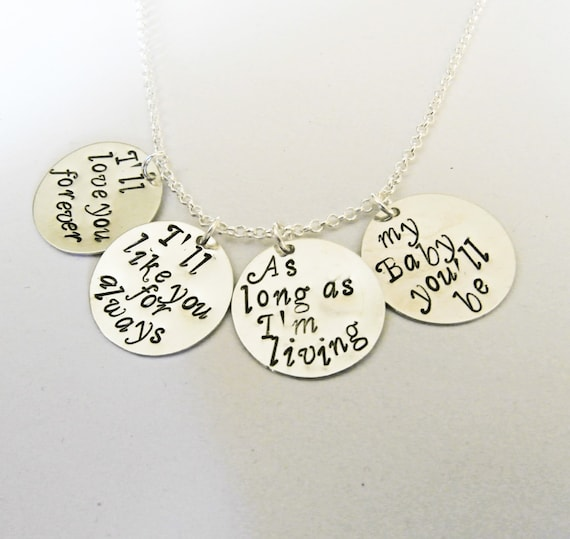 I'll love you forever Hand Stamped Necklace, I'll like you for always Jewelry, my Baby you'll be, Christmas gift, mother of the bride gift