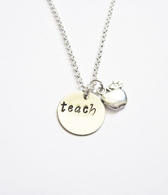 Personalized Teacher Gift, Gift For Teacher, Retirement Gift, Teacher Retirement Gift, Teacher Necklace, Apple, Retirement, custom initial