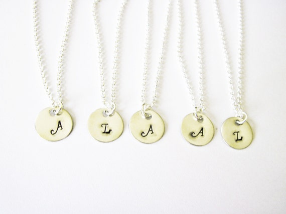 SET OF 5 initial charm necklace, 5 initial necklaces, Personalized charm jewelry, five bridesmaid necklace gift set, silver necklace pendant
