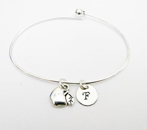 Teacher gift theme, Initial bracelet, silver bangle bracelet, custom initial, stackable bangle, teacher appreciation gift, school teacher