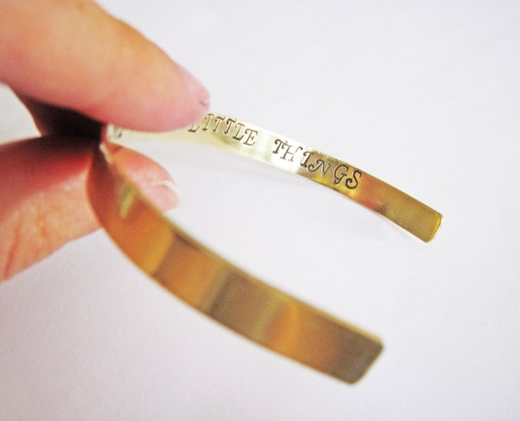 Secret Message bracelet, skinny cuff, customizable, brass, aluminium or copper, inside stamped with your wording up to 60 characters, quote
