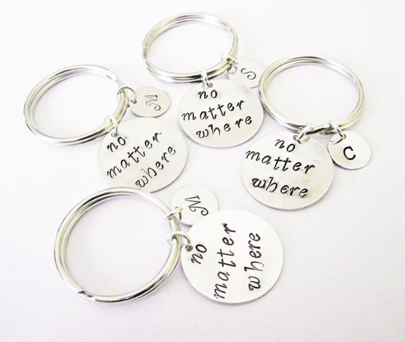 four best friends keychains, moving away, no matter where handstamped, 4 friends key chain, graduation gift, personalized initial custom