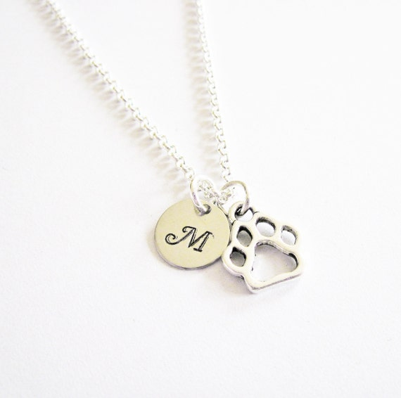 Dog paw necklace, personalized necklace, initial necklace, long necklace tiny paw jewelry, antique silver small charm, monogram,  hand stamp