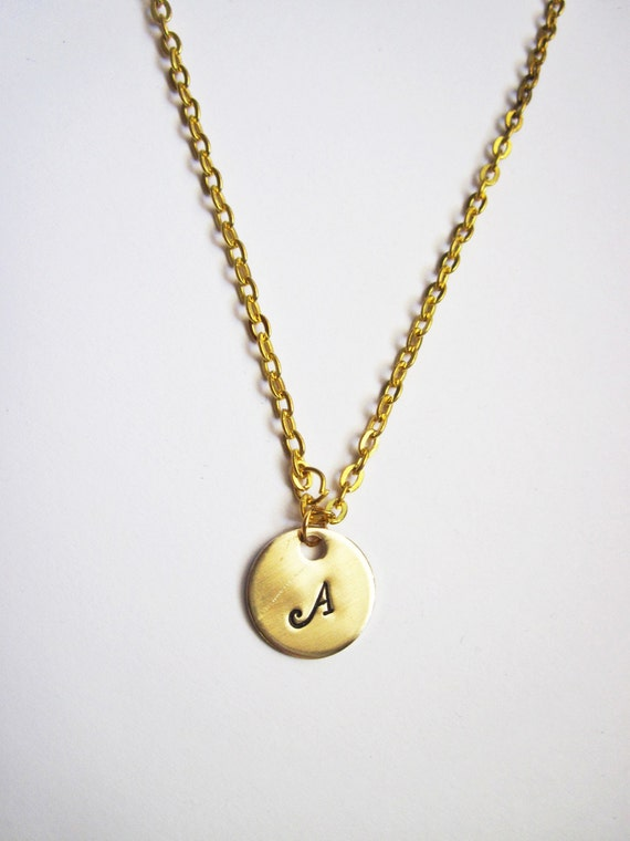 Dainty Gold Initial Necklace - Custom Monogrammed, Gold Initial Necklace - Personalization Gift, initial jewelry, gold necklace, one disc