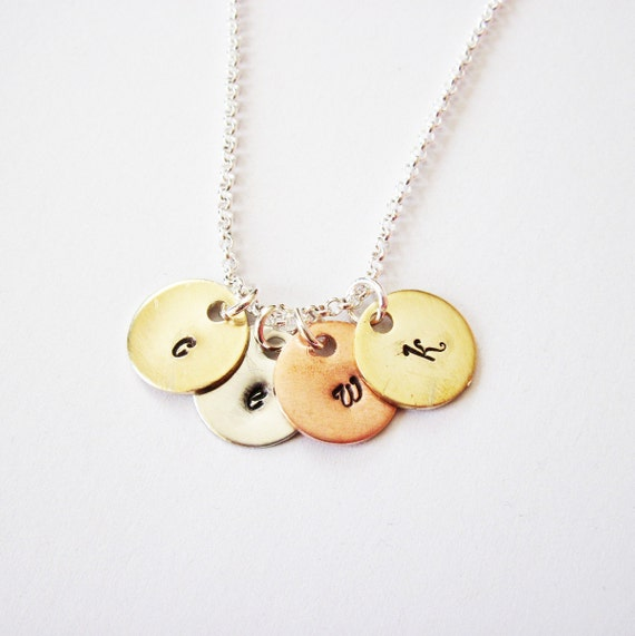 Personalized Four Initials Necklace, Hand Stamped initial Charm, Family Initials, Mom of 4 Kids initial Grandma necklace, 4 charms