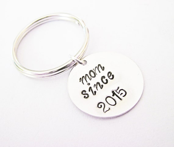 Personalized Mom Keychain, mother key chain, mom gift, mom since, hand stamped keychain, mom est, new mom, new mother