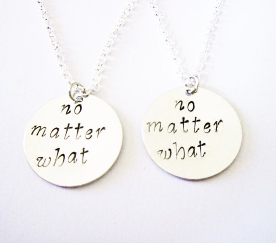 sisters necklace long distance, handstamped necklace personalized jewelry, gift for best friends, no matter what, friendship bff necklace