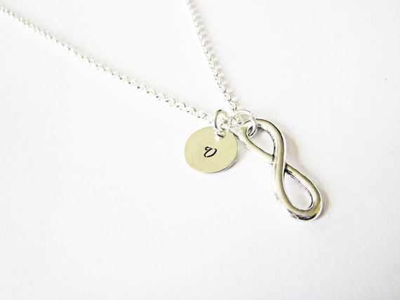 Silver infinity initial Necklace, everyday Necklace, infinity jewelry, everlasting lover, enternity, gift for BFF, custom initial necklace