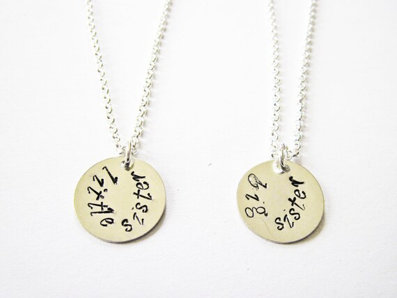Handstamped big sister little sister necklace set, childrens matching necklace gift set big sis little sis, two sisters necklace best friend