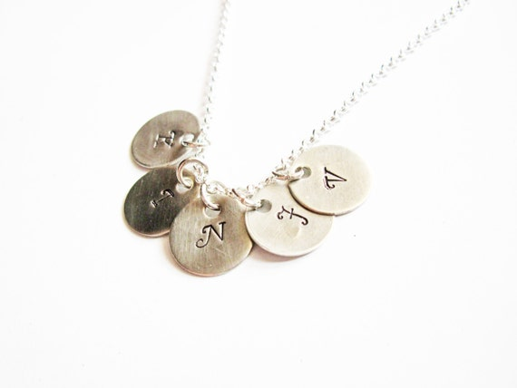 Five Initials Necklace, Hand Stamped necklace, Family Initials, Mom of 5 Kids, Mum Kid Grandma necklace, Five Bridesmaids, engraved jewelry