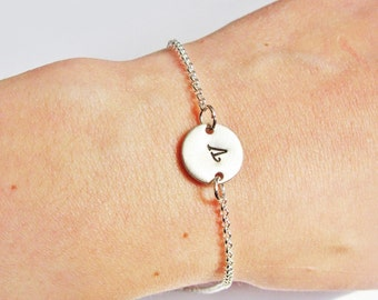 Initial bracelet - personalized bracelet, one disc bracelet Silver bracelet, engraved bracelet, monogrammed bracelet, hand stamped bracelet,
