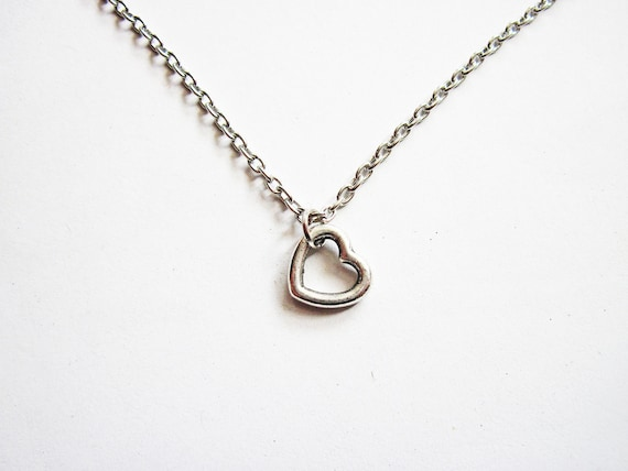 Tiny Heart Necklace, Silver Heart Necklace, Heart Jewelry Necklace, Heart Charm Necklace, Open Heart Necklace, bridesmaids necklace