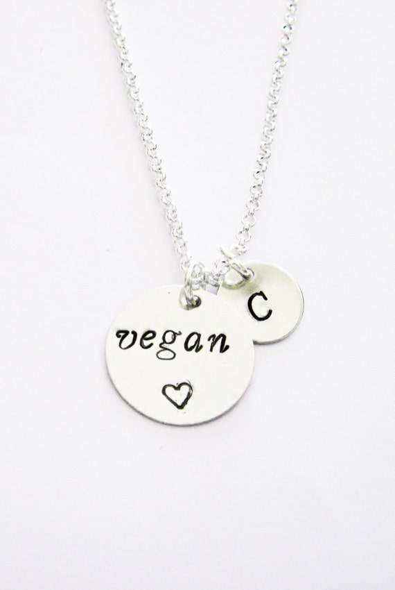 Personalized Vegan Necklace, Hand Stamped Necklace initial Jewelry Vegetarian Necklace simple Motivation Inspirational Jewelry, silver chain