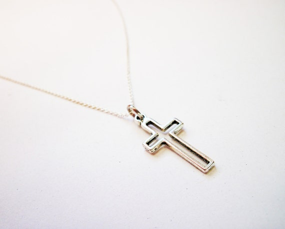 dainty cross necklace, delicate cross jewelry, gift for her under 25, sterling silver cross jewelry, sterling necklace, silver cross charm