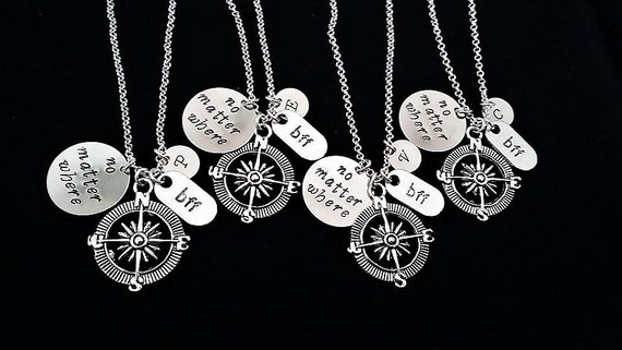 nuovo concetto d7e57 881aa 4 Collane personalizzate, collana migliore amica, regalo d'addio, no matter  where, collana iniziale, collana incisa incisione personalizzata