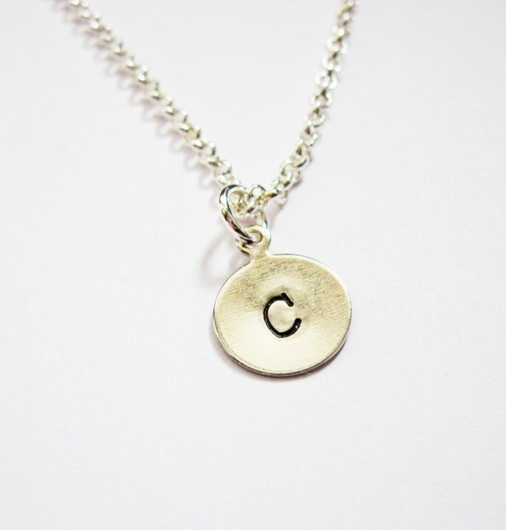 Initial Necklace. personalized necklace, one disc Silver necklace, engraved pendant, monogrammed necklace, hand stamped necklace, 1 letter