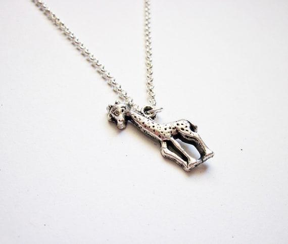 animal jewelry giraffe necklace, giraffe jewelry necklace, animal necklace, silver necklace, unique necklace, giraffe pendant, tiny giraffe