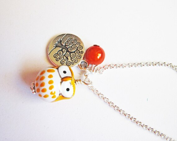 Owl Necklace, Tree of life necklace, Owl Pendant, Owl Jewelry, orange owl Necklace, Owl Bead, beaded Owl Necklace, ceramic owl necklace