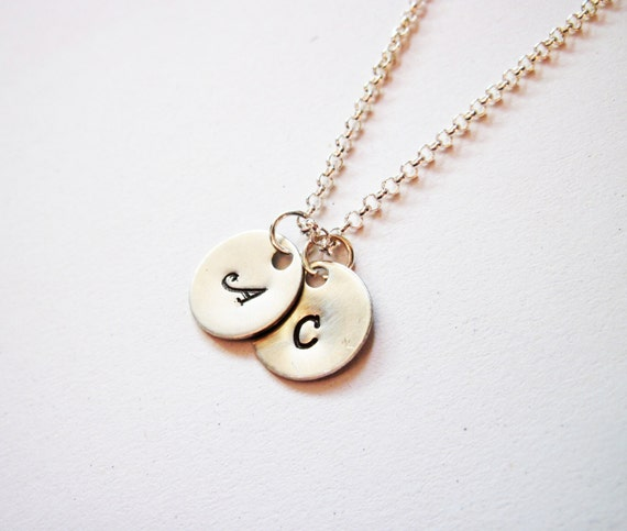 Two Initials Necklace, personalized necklace, two coins Sterling Silver necklace, monogrammed necklace, hand stamped necklace jewelry