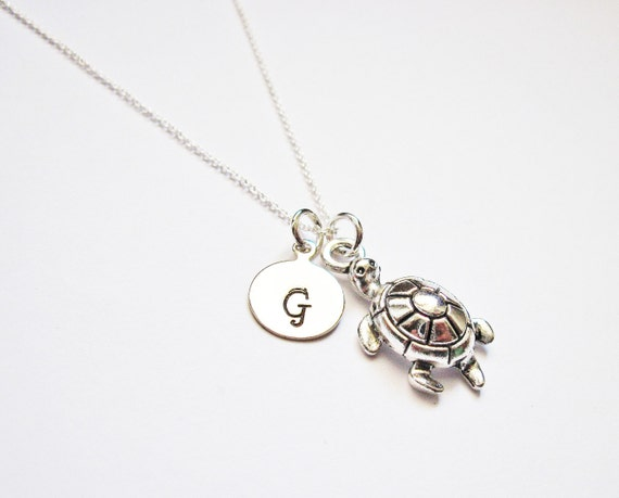 Personalized Turtle Necklace, initial Necklace, Sterling Necklace, sea turtle Necklace personalized, tortoise, initial pendant charm