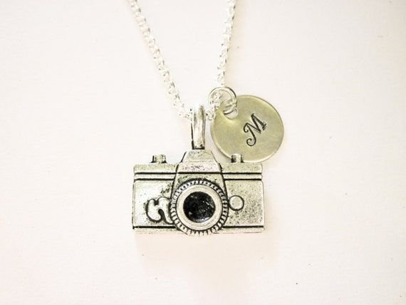 Personalized Camera Necklace, silver photography necklace, initial necklace, photographer gift, camera jewelry, photography jewelry, initial