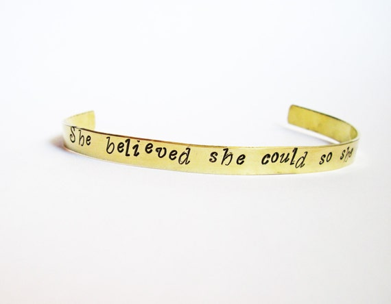 She Believed She Could so she did Personalized Custom Cuff Bracelet Inspirational Graduation Gift for Her handstamped aluminium brass copper