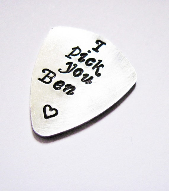 Personalized I Pick You Guitar Pick Hand Stamped Customizable Handstamped for birthday wedding anniversary BFF graduation gifts