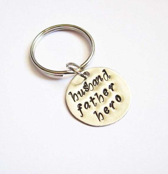 Husband father hero keychain, men keychain, christmas gift, new dad, daddy keychain, husband keychain, hubby keychain, handstamped key chain