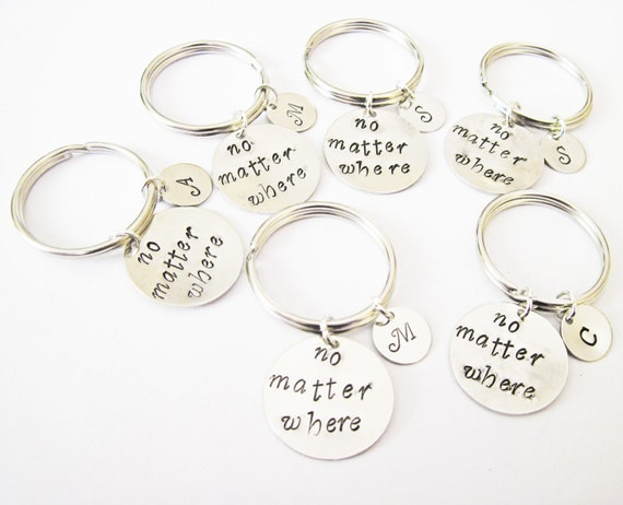 six best friends keychain, no matter where, long distance, moving away gift, bff key chain, handstamped key ring, handstamped keychain 6