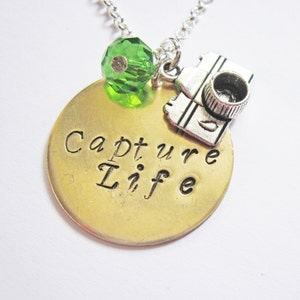 photographer gift photography necklace birthstone necklace Capture Life Personalized Camera Necklace initial necklace camera jewelry