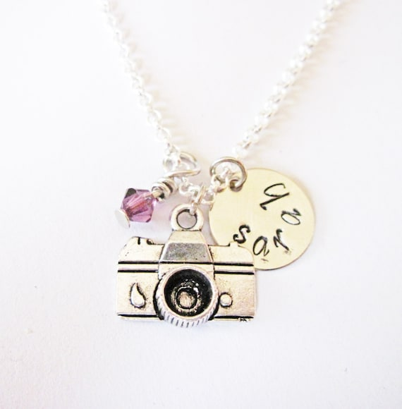 Camera necklace, Personalized initial camera necklace, Name necklace, snap, vintage camera, hand stamped, photographer gift, capture life