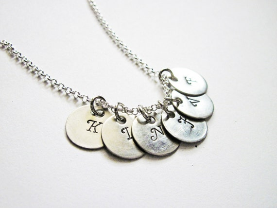 Personalized Initials Necklace, Hand Stamped necklace, Family Initials, Mom of 6 Kids, Mum Kid Grandma necklace, six Bridesmaids, engraved