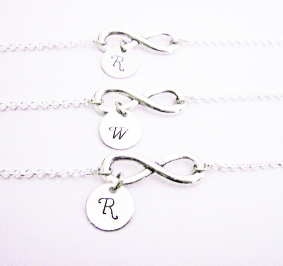 Set of three sisters bracelets, Mother & two Daughters personalized infinity bracelets 3, letter, monogram, mom, custom stamped charm, bff