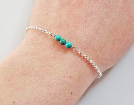 turquoise bracelet, bar bracelet, layering bracelet, turquoise jewelry, thin bracelet, spring summer bracelet, three beads