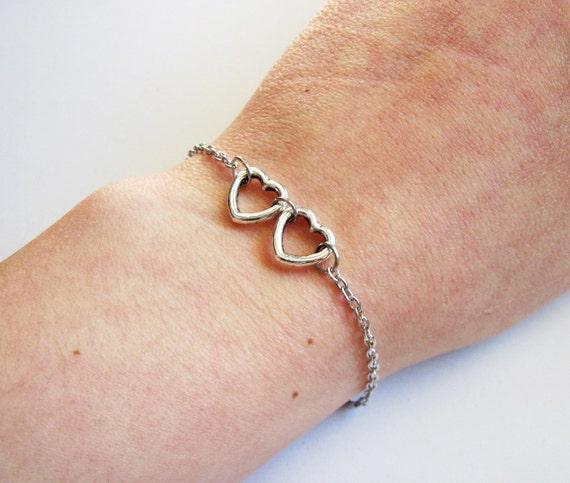 Two Hearts Bracelet, two linked hearts bracelet, Silver hearts bracelet, Open hearts bracelet, Tiny hearts bracelet, Everyday bracelet