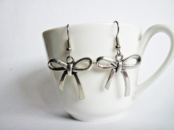 Bow earrings silver plated, cute romantic little metal tie ribbons dangle affordable earrings, bow jewelry, handmade earrings