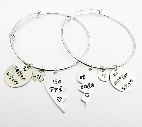 Best Friends Bangle Bracelet Set 2 Friendship Bracelets, Half Heart Friendship Jewelry, Gift Best Friend Jewelry, no matter where, initial