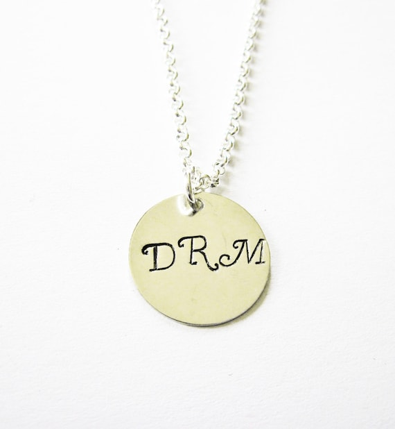 Three Initial Necklace, Three Letters on One Disc, Three Letter Name Necklace, engraved initials, custom necklace, personalized jewelry, 3
