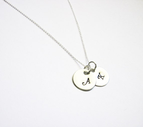 TWO Initial Charm Necklace, Tiny Monogram Disc Jewelry, STERLING SILVER, Mom and Child, Couple Jewelry, Sister, Best friends Necklace, 2