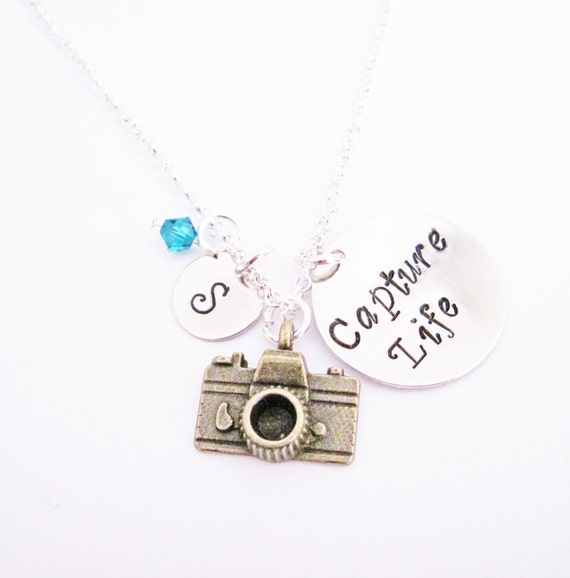 Capture Life Camera Initial and Birthstone Necklace, Silver Necklace, Handstamped Personalized Necklace, journalist photographer photography